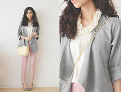Neno Neno - Cndirect Pearl Necklace, Cndirect Grey Cardigan, Dressgal Handbag - Pearl