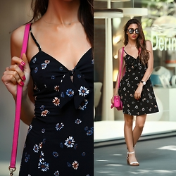 Cansın Ekşi - Michael Kors Hot Pink Bag, Miss Selfridge Floral Dress, Zara White Sandals, Daniel Wellington Black Watch - Floral Dress