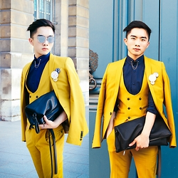 Jocelyn Yih - Noose & Monkey Suit, Topman Clutch/ Document Wallet, Dior Homme Floral Badges, Dior Homme Composit 1.0 - Man in Yellow
