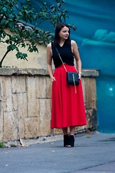Kristina P. - Choies Skirt, Pink Basis Heels - The red skirt