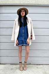 Kerry Brown - Forever 21 Fedora, Primark Coat, Boohoo Dress, Lasula Boots - Fake Snake