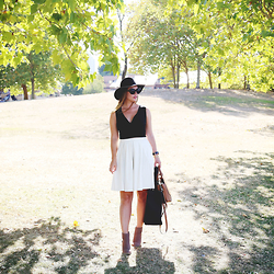 Alexandra G. - Aritzia Floppy Hat, Obakki Pleated Skirt, Urban Outfitters Ankle Boots - Last Summer Breath