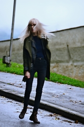 Adela C. - Urban Outfitters Olive Trench Coat, H&M Faux Leather Jacket, Gina Tricot Black Jeans, Clarks Boots - The Adventures Of Rain Dance Maggie