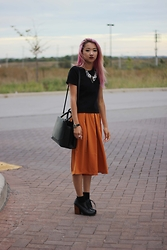 Jeannie Y - Zara T Shirt, Forever 21 Culottes, Jeffrey Campbell Booties, Auxiliary Tote - Pumpkin Spice
