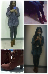 Psyche Psyche - Old Cabinet Long Sleeve Polo Shirts With Hood, Forever21 Leggings, Linea Italia Boots - Ootd tuesday