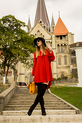 Flo R. - Mango Dress, Asos Knee High Boots, Zara Bag, Vila Hat - New season, new beginning