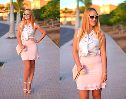 Nery Hdez - Opticalh Sunglasses, Wholesale7 Blouse, Wholesale7 Skirt - Flamingo Love
