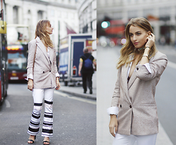 Noor G. - Ganni Blazer, Keep Sake The Label Trousers, Drykorn Shirt, Chanel Bag, Boohoo Shoes, Shore Project Watch - LONDON TOWN
