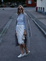 Lotta-Liina Love - Lavish Alice Feathered Midi Skirt, Zara Sequin Loafers, Hm Studio Oversized Coat, Asos Oxford Button Up Top - Oxford & Tassels