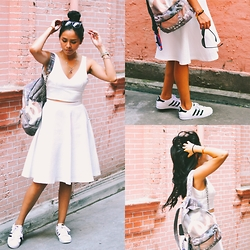 @CARITOVIENA - Adidas Superstar, Chanel Grafitti Backpack, Zara Midi Skirt, Zara Crop Top - MRS. WHITE