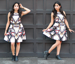 Brianna Ramirez - Target Geometric Fit And Flare Dress, Forever 21 Booties - Geo Weird