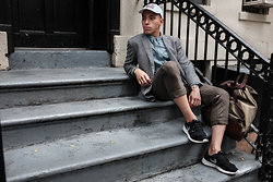 Kenneth Quinn - Gap Pants, Nike Roshes, Target Button Down, Polo Ralph Lauren Hat, Tommy Hilfiger Blazer, Target Backpack - 68th Street Upper East Side Chillen!