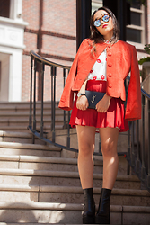 "Nicole Kim - Le Specs ""Neo Noir"" Sunnies, Vintage Red Suede Jacket, Dresslink Kisses All Over Button Down, Aibi Watch Julia Engel Miami Silver Black, Saint Laurent Ysl Classic Medium Monogram Clutch, Cn Direct Red Tennis Skirt, Jeffrey Campbell Famous Boot - Rouge"