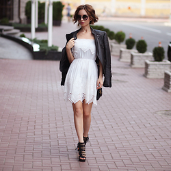 Sonya Karamazova - Zara Leather Jacket, Chicwish Dress - LEATHER AND LACE