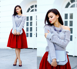 Anna Mour ♥ - Dresslink Statement Necklace, Finch Dark Red Cotton Sweep Full Skirt - Off-shoulder