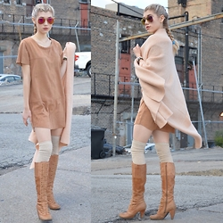 Dani Mikaela McGowan - Minkpink Suede Shift, Miz Mooz Lace Up Boots, Urban Outfitters Blanket Scarf - Diaries of a Cold Girl