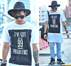 Butch Cervantes - H&M Long Tee, Zara Ripped Denim, Nike Air Flight, Zara Fedora, Eyewear Mango - To even deal with you!!!