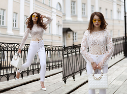 Helena Ivanova - Lace Blouse, Vero Moda White Skinny Pants, Yellow Aviator Sunglasses, Bag Was Borrowed By My Brother's Wife - Feminine Helena