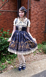 Tori - Baby The Stars Shine Bright Starry Night, Baby The Stars Shine Bright Starry Night, Angelic Pretty Fantasy Theater Blouse, Angelic Pretty Holy Lantern Tights, An*Tain*A Tea Parties - Bright Starry Night