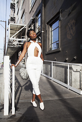 Enocha T. - Tobi White Jumpsuit, Forever 21 Loafers, She The Collection Faux Fur Bag - Hole In One