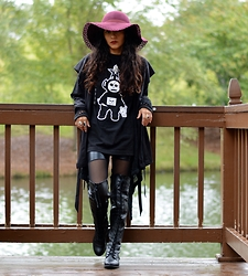 Lilia U.M - Revive Floppy Hat, Jones New York Cardigan, Scarsxstitches Dark Tele Tubby, Dressin Liquid And Mesh Leggins, Bamboo Thigh High Lace Up Boots - Subliminal MSGS