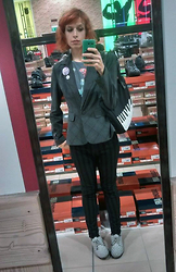 Giulia Montanari - Dr. Scholl's Justified Oxfords, H&M Stripey Trousers, Banana Republic I Wanted A Blazer., Sechuna Piano Bag, Taobao Dinosaurs Top - I can't believe I'm posting a lame store-selfie