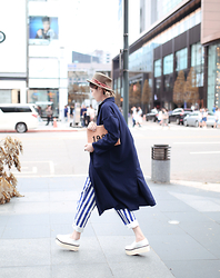 Miriam Mibao - Miyuti Trench Coat, Miyuti Stripe Pants - Blue