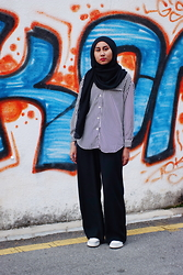 Liyana Aris - Kinji Used Clothing Striped Shirt, H&M Palazzo Pants, Adidas Neo - Pajama Vibez