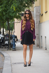 Tamy's Fashion World - Freyrs Sunglasses, New Yorker Shirt, H&M Belt - Purple & black