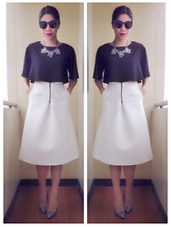 Cassey Cakes - Topshop Scuba Skirt, Miss Selfridge Pumps, Mango Necklace - Black and White Drama