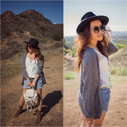 Lily S. - Cardigan, Shorts, Hat, Sunglasses, Boots, Bag - The Fall // Instagram @pslilyboutique