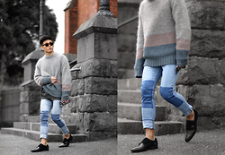 Bloggers Boyfriend - Bloggers Boyfriend Mohair Blended Knit - Men's Colour Block Striped Mohair Sweater