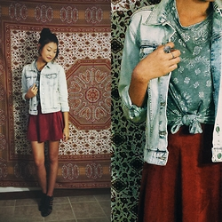 Michelle Pan - Gap Denim Jacket, Suede Skirt, Dv By Dolce Vita Caged Heels - Those Eyes You Gave To Me