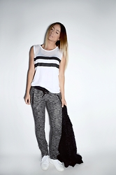 Lena Antonacci - Fabletics Stripe Mesh Muscle Tank, Ardene Tapered Sweatpants - Fabletics part deux
