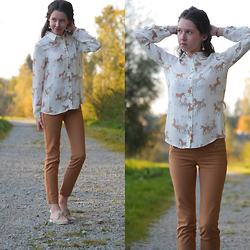 Claire H - Zara Printed Blouse With Unicorns, Zara Brown Pants, Bullboxer Leather Brouges - A herd of unicorns