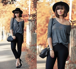 Ewelina Dobosz - Kappahl Top, Kappahl Pants, Nn Bag, Solo Femme Heels, Seppala Hat, Firmoo Sunglasses - Black and Grey - Minimalist