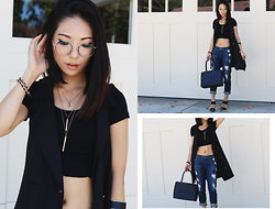 Eunice Kim - Short Sleeve Crop Top, Long Vest, 7 For All Mankind Josefina Boyfriend Jeans, Chanel Vintage Medallion Bag, Layered Necklace, Forever 21 Black Cuff, Forever 21 Strap Mules, Moscot Zev - Cropped | L e n g t h s