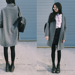 Aliya A - Somemoment Coat, Somemoment Shirt, Vince Camuto Backpack, Dr. Martens Boots - Sweater Coat