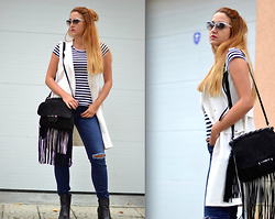 Martina Manolcheva - H&M Vest Dress, Zara Jeans, Moschino Sunglasses - Look Of The Day