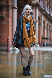 Kimi Peri - H&M Fishnet Tights, Dr. Martens Vegan Leather Boots, Unif Americana Moto Jacket, Monki Mustard Yellow Scarf, Black Moon Necklace, Vintage Indie Sweater, Monki Black Denim Skirt, Vintage Sweatjacket - Rainy London