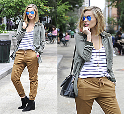 Didi Ibarra Rake - Bullhead Joggers, Topshop Booties, Kate Spade Handbag, Sheinside Striped Shirt - City Stripes