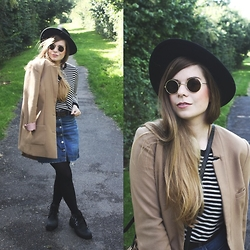 Elaine Hennings - H&M Denim Skirt, H&M Coat, Cos Striped Shirt, Asos Boots, Urban Outfitters Glasses, Monki Hat - Autumnal Denim
