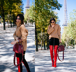 Doina Ciobanu - Chunky Knit, Zip Skirt, Burgundy Bag, Red Boots - Bonjour, Paris! (+GIVEAWAY in description)