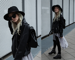 Annette Zer - Dressin Black Matte Sunglasses, Dressin Taube Grey Kimono, Primark Black Hat, Zara Black Biker Boots, Mango Black Leather Jacket, Primark Black Lacquer Backpack, Urban Outfitters Black Leather Leggings - And you know we are on each others team