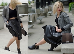 Liat Neuman - Club Monaco Knit Top, Zara Leather Skirt, Mendocino Jacket, Zara Bag - Windy Day