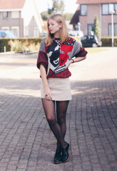 Janne B - Vintage Jumper, Mango Suede A Line Skirt, Invito Brogues, Daniel Wellington Watch - Skirt & Knit