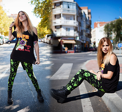 Vita Dinamita - Iron Fist Clothing Tee, Banned Apparel Leggings - Die die my darling