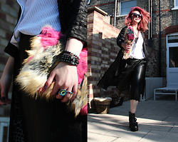 Sharley L. - Zara Pleather Culottes, Zara Pinstripe Shirt, Topshop Beaded Bracelet, Asos Faux Fur Clutch, Attitude Clothing Eye Ring - Turning Point