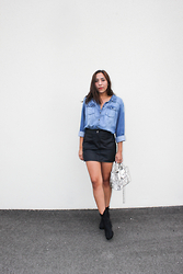 Lisa Gonzalez - H&M Denim Button Up, Max Studio Skirt, Rebecca Minkoff Purse - Denim & Black