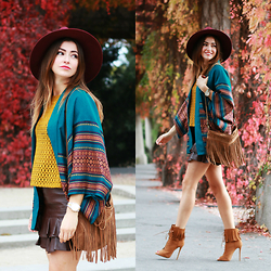 Yoschimoto - Zara Top, Vintage Leather Skirt - AZTEC KIMONO AND FRINGE